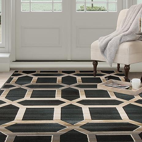 Lavish Home Opus Art Deco Area Rug, 8 X 10u0027, Dark Teal