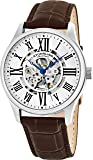 Stuhrling Original Atrium Men's Automatic Watch with Silver Dial Analogue Display and Brown Leather Strap 747.01