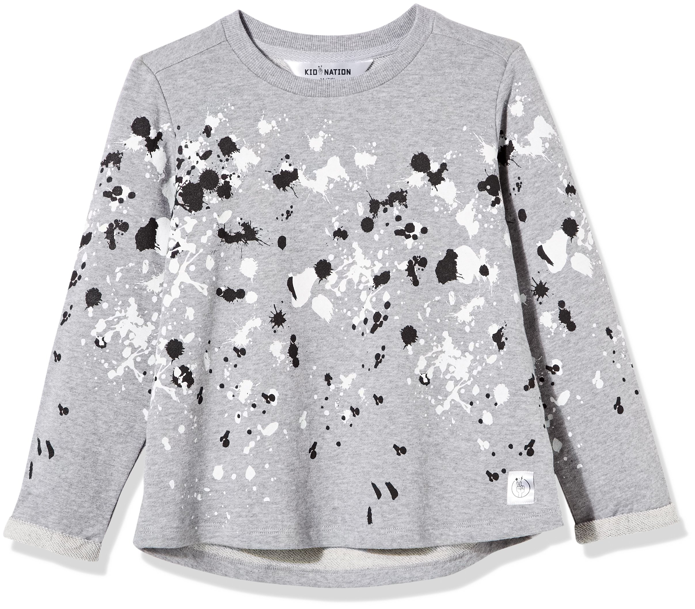Kid Nation Girls' French Terry Rolled-Cuff Printed Oversized T-Shirt X-Small Gray Heather