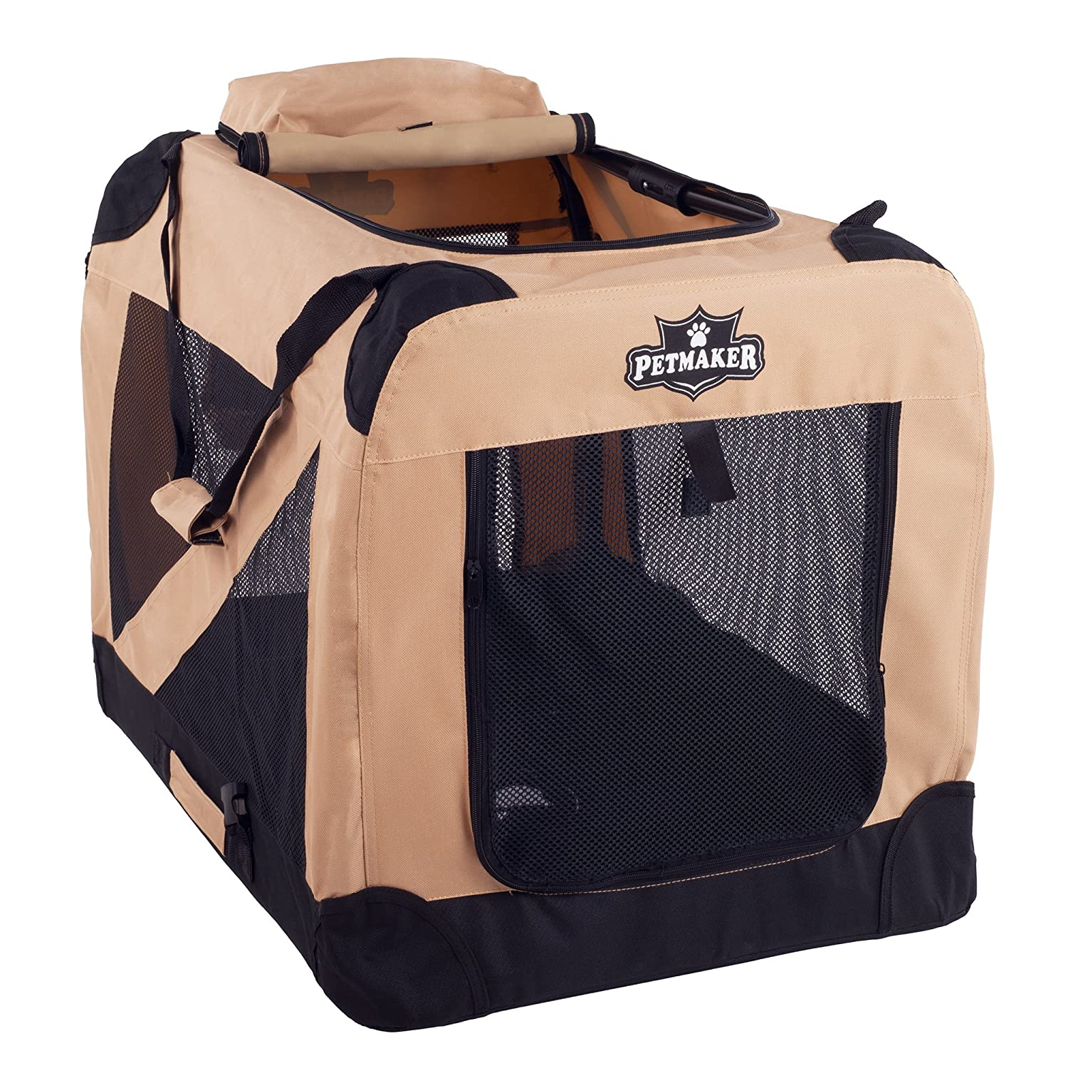 Khaki 30\ Khaki 30\ PETMAKER Portable Soft Sided Pet Crate, 30 x20 , Khaki