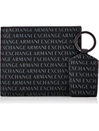 A|X Armani Exchange mens Wallet + Keychain Accessory Set Packing Organizers