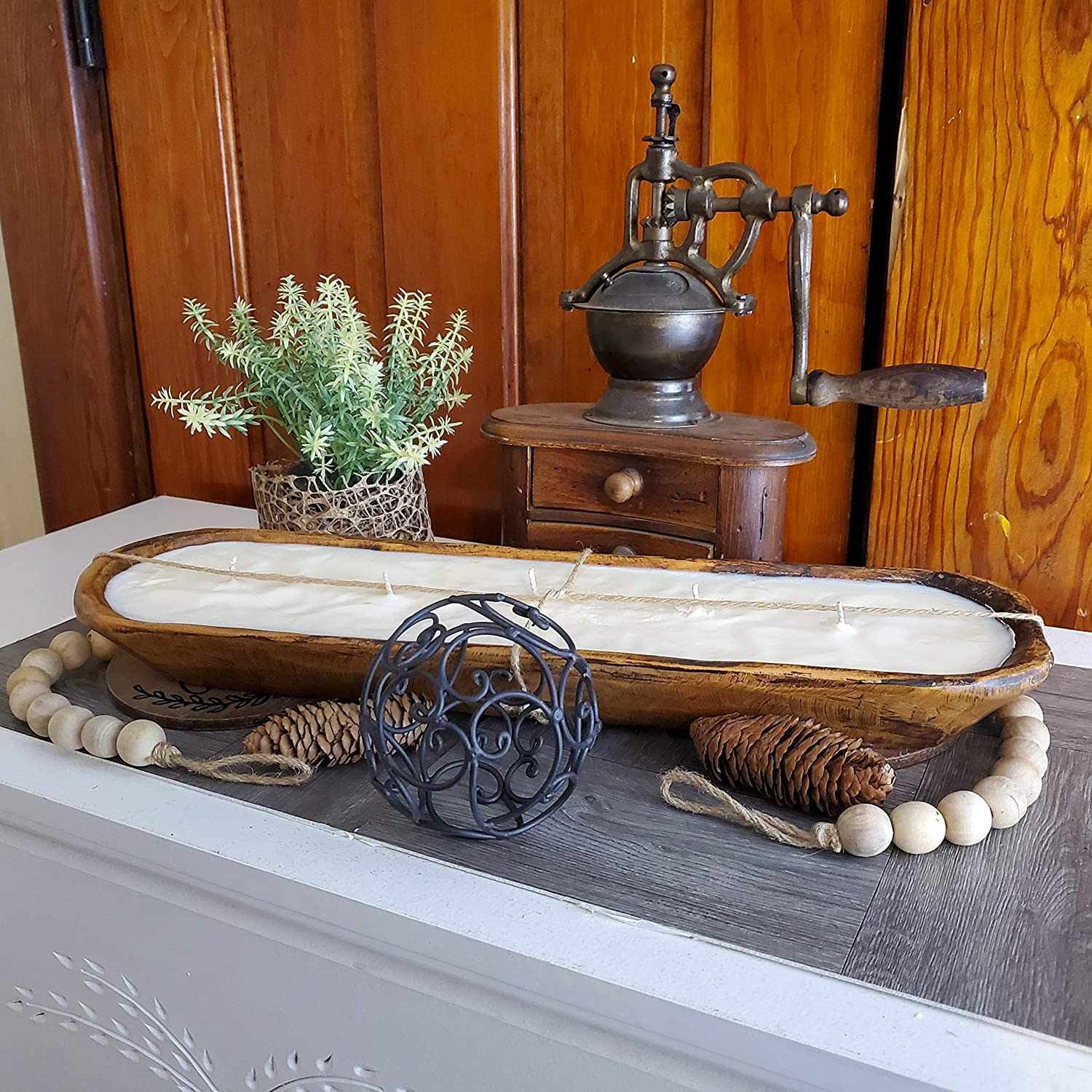 White 3 Wick Wooden Dough Bowl Candle