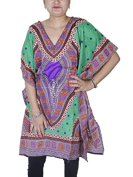 Vestido caftan de largo medio y con vivo diseño vestido de mujer manga corta
