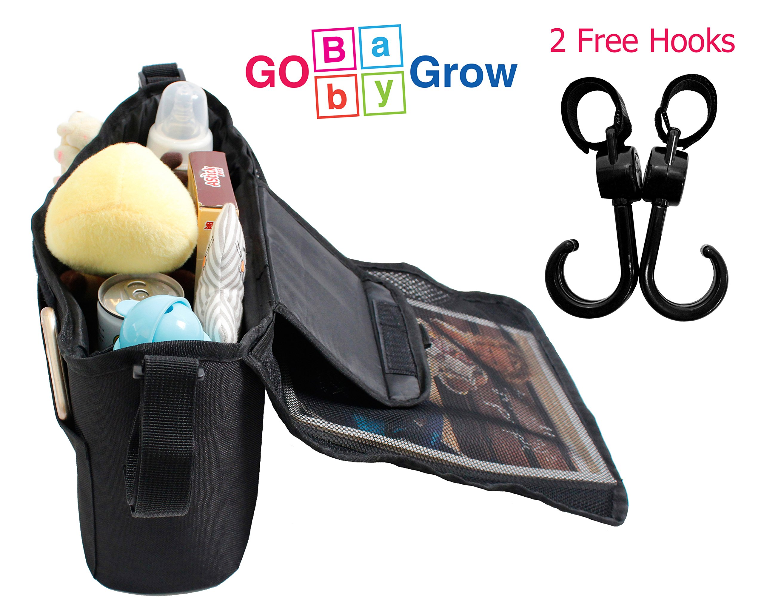 Stroller Organizer - Baby Strollers Store Baby Diapers, Water Bottle, Kids Toys |Baby Shower Gifts with Free Stroller Hook by Go Baby Grow