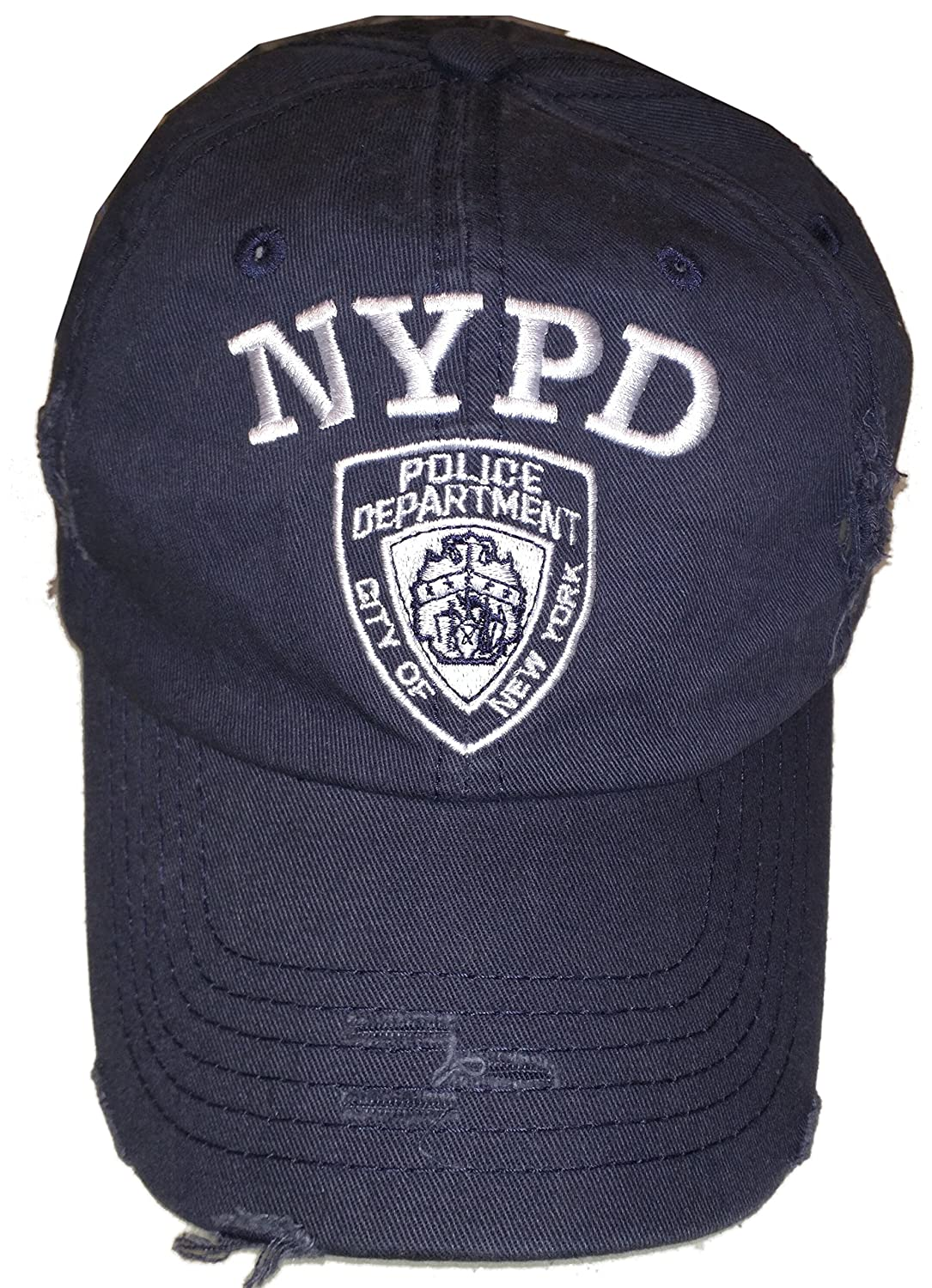 NYC FACTORY NYPD Baseball Hat New York Police Department Distressed White Logo Navy Blue