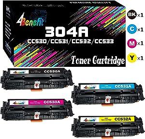 4-Pack 4Benefit Compatible CC530A 304A Toner Cartridge CC531A CC532A CC533A Used for Canon 118 HP Color Laserjet CP2025DN CP2025N CP2025X CM2320FXI CM2320N CM2320NF MF8380CDW Printer (B+C+M+Y)
