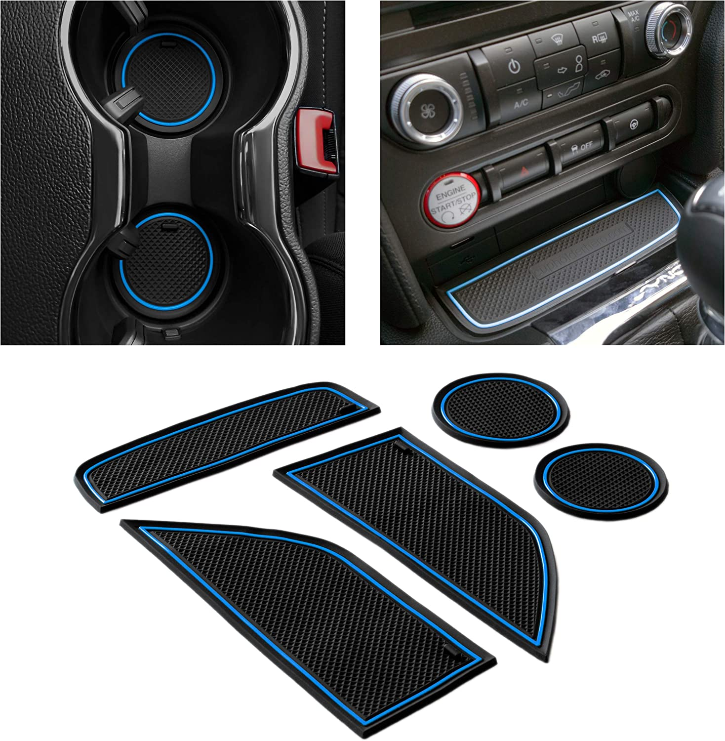 CupHolderHero for Ford Mustang Accessories 10-10 Premium Custom  Interior Non-Slip Anti Dust Cup Holder Inserts, Center Console Liner Mats,  Door