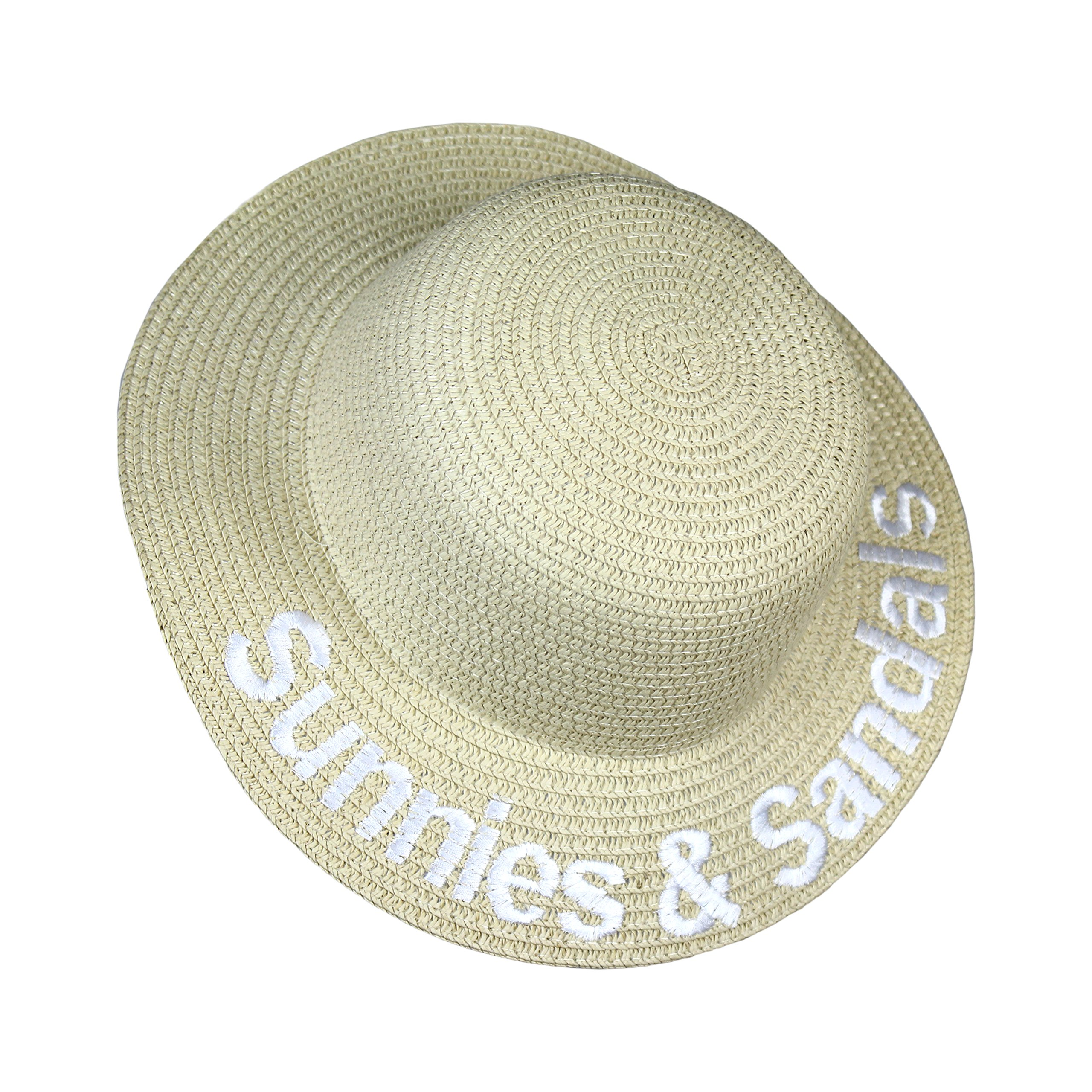 Sunnies and Sandals Verbiage Girls Boho Straw Summer Beach Hat- Wide Brim Sun Protection Cap for Kids (Sunnies & Sandals)