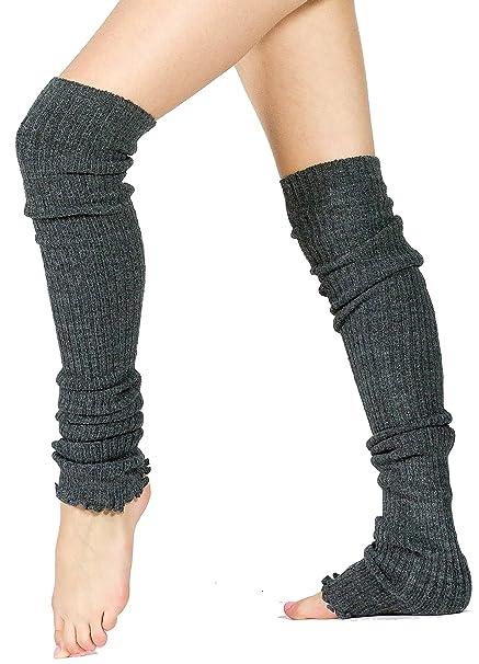 2dfb76995ce26 KD dance New York Charcoal Thigh High 28 Inch Women's Leg Warmers Stretch  Knit Ruffled Top