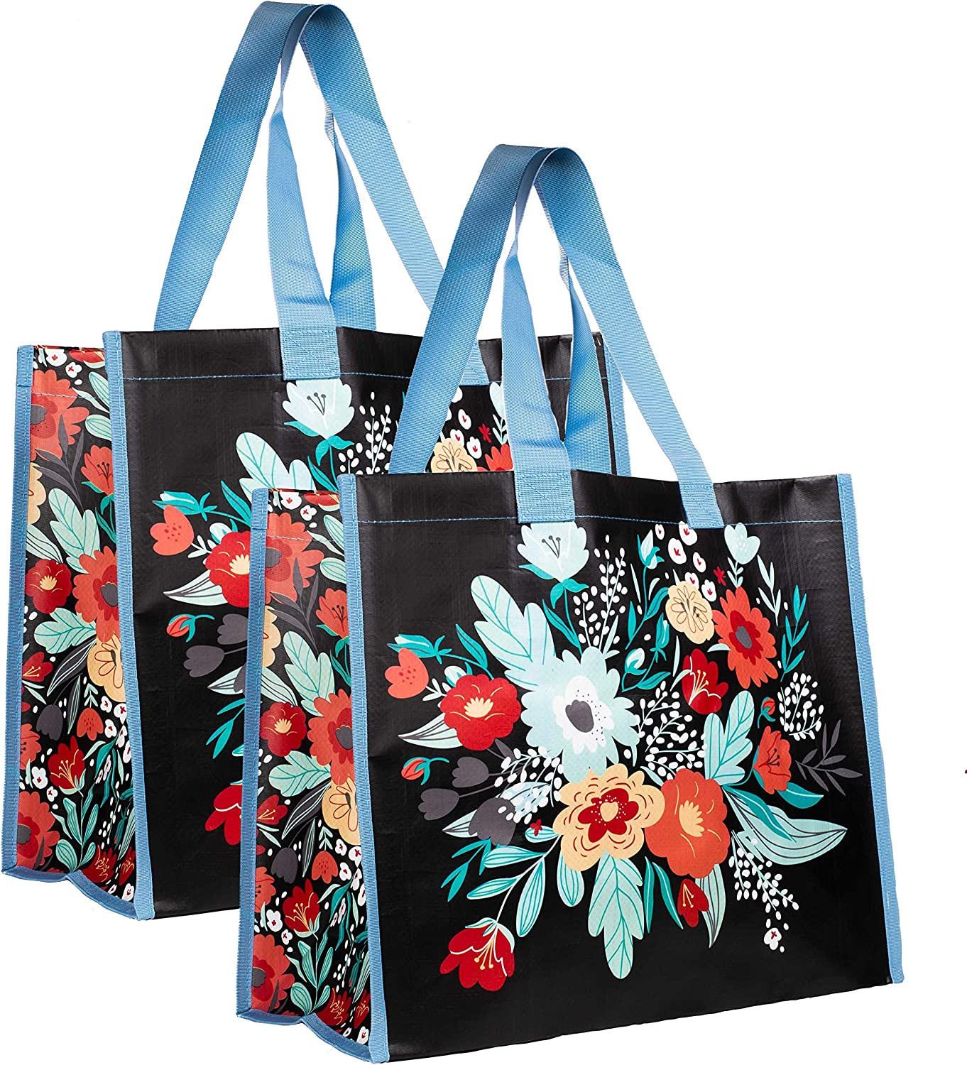 Oversize Grocery/Produce Bag Set of 2, Heavy Duty Eco Market Shopping Bags, Foldable, Packable, Reusable Tote with Durable Shoulder Straps, Folk Floral