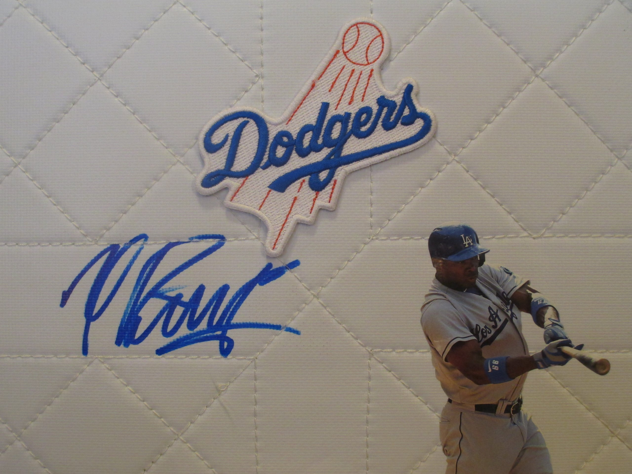 Los Angeles Dodgers Yasiel Puig Autographed Hand Signed LA Dodgers Full Size Baseball Photo Base with Proof Photo of Signing and COA