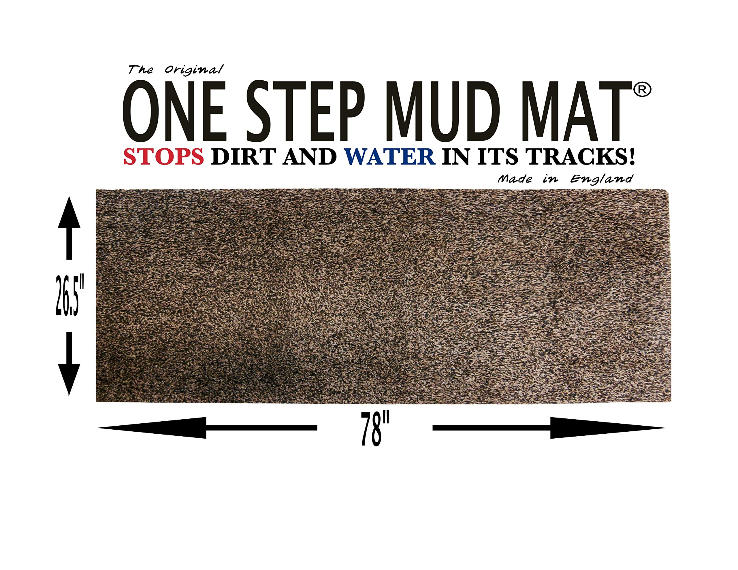 One Step Mud Mat Original Made in England 26.5W x 78L Runner (Brown) Indoor Floor Mat with Non Slip Backing Traps Mud and Dirt Perfect for Pets Excellent for High Traffic Areas by ONE STEP MUD MAT STOPS DIRT AND WATER IN ITS TRACKS! (Image #1)