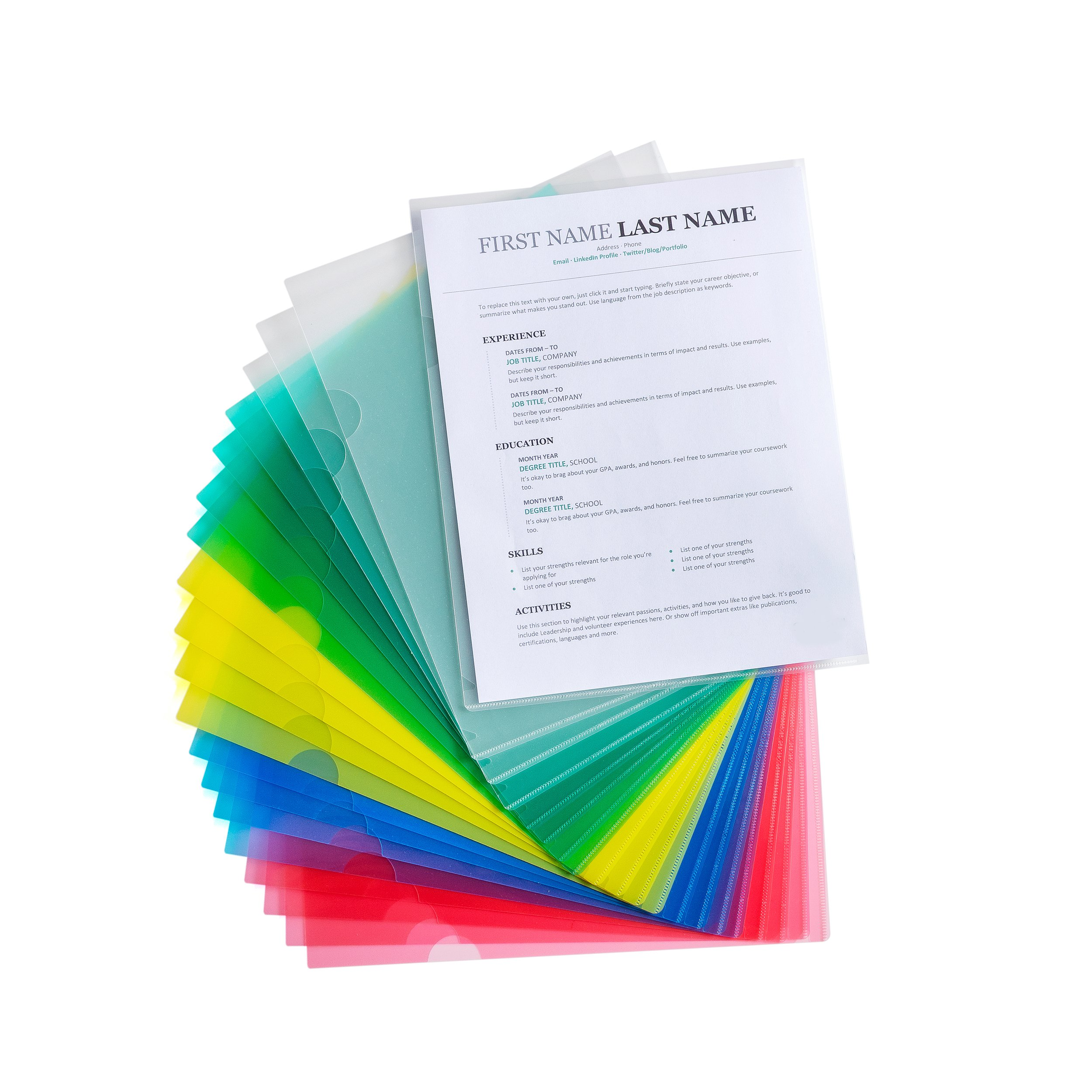 Document Folders, Poly File Holders - Assorted Colors - Transparent - US Letter/A4 Size - 20 Sheet Capacity - Water-Resistant, Organize and Protect Important Documents - 20-Pack