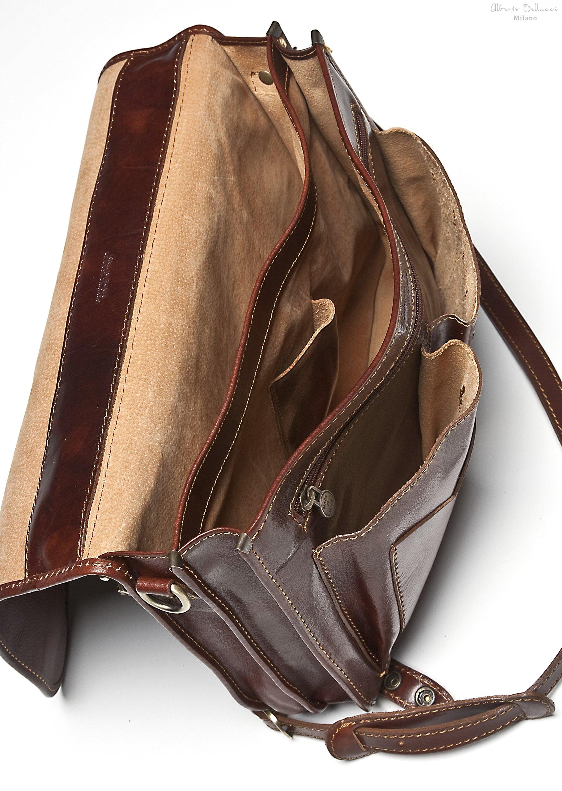 Alberto Bellucci Mens Italian Leather Comano Double Compartment Messenger Satchel Bag in Brown by Alberto Bellucci
