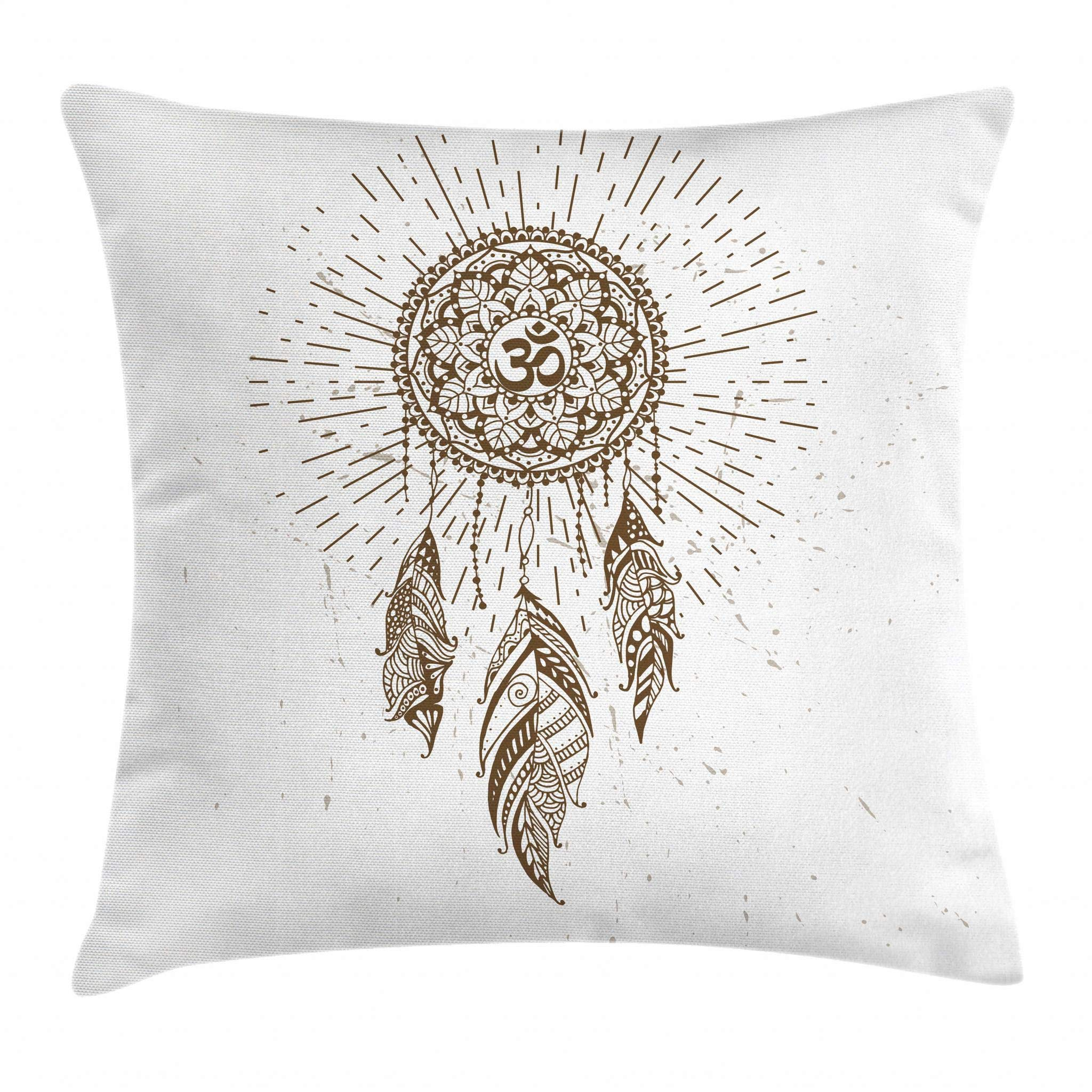 Ambesonne Yoga Throw Pillow Cushion Cover, Hand Drawn Style Dreamcatcher with Mandala Ancient Spiritual Symbol Hippie Art, Decorative Square Accent Pillow Case, 16 X 16 Inches, Brown and White