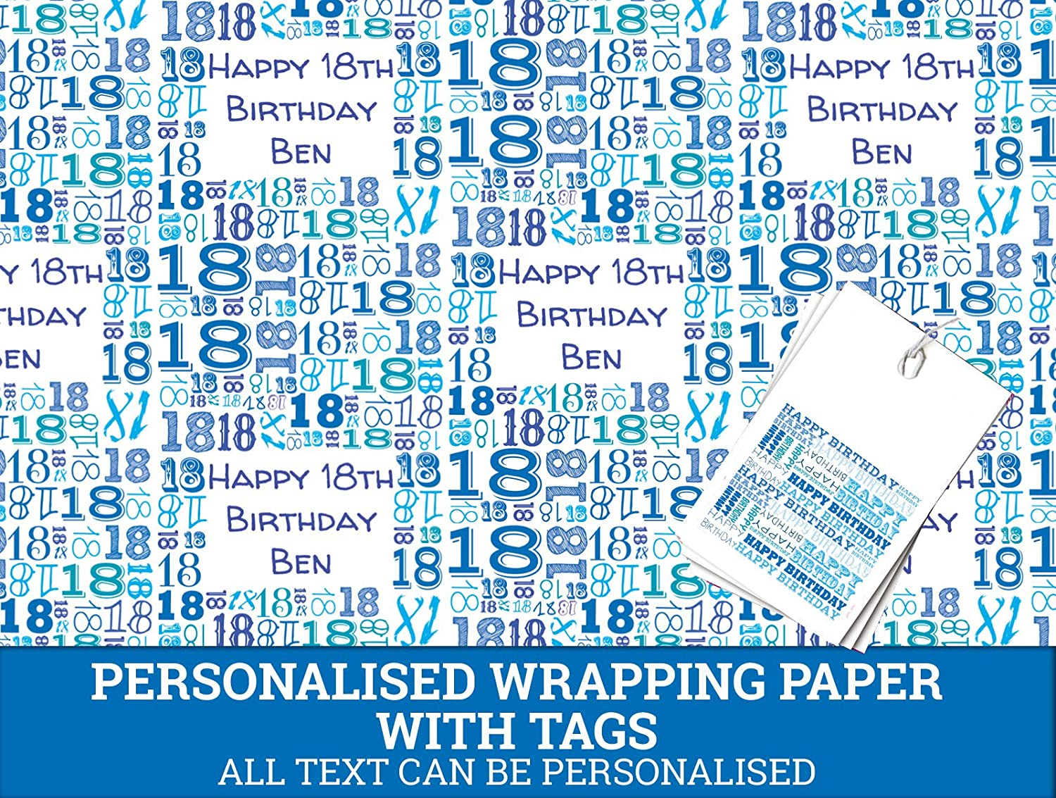 Blue Happy 18th birthday Personalised Wrapping Paper - 590mm x 840mm Dom and Geri