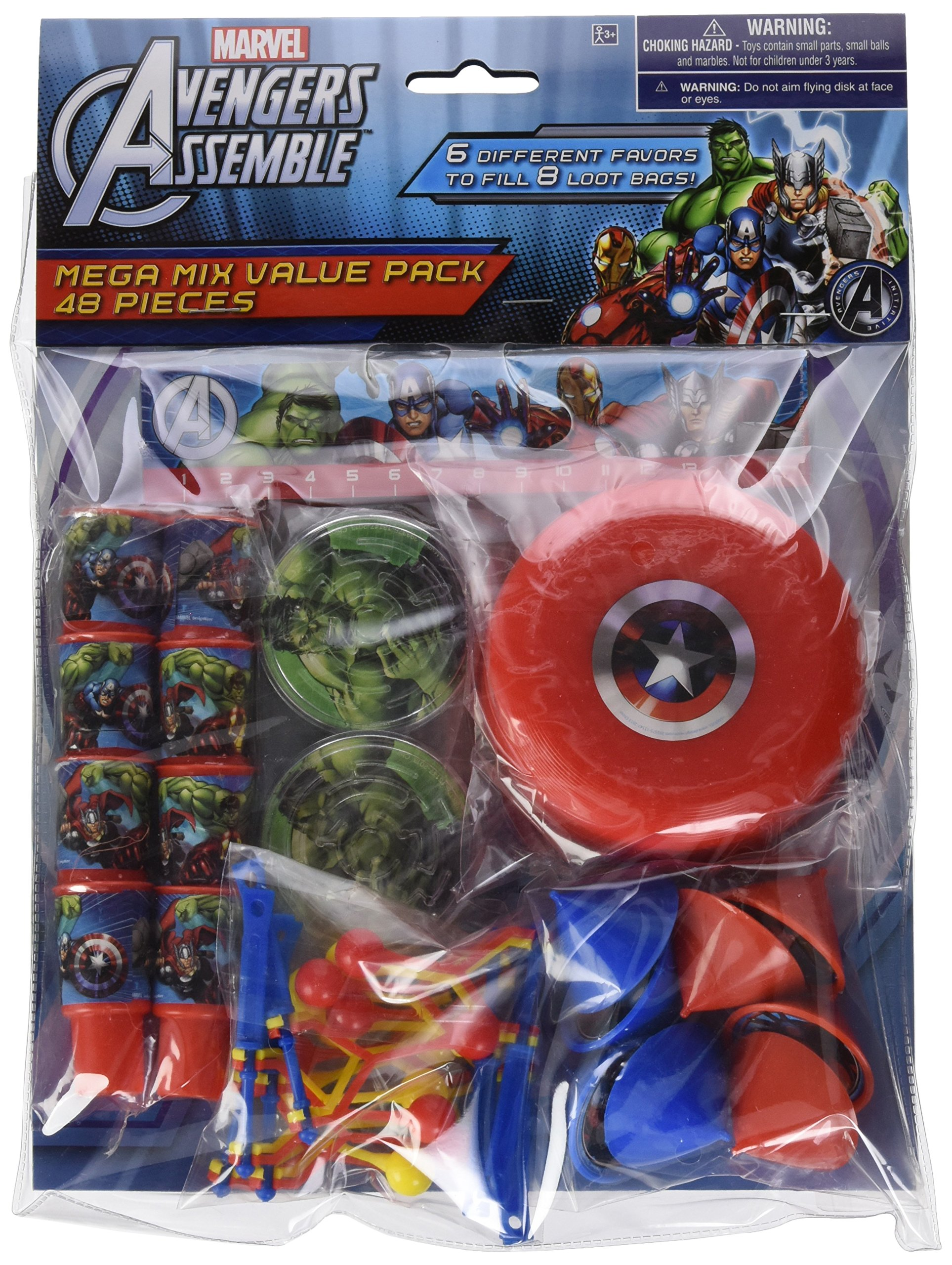 Amscan Avengers Birthday Mega Mix Assorted Favor Kit Pack 48 Multi 11'' X 9'' Pkg Size Plastic Party Supplies (288 Piece)