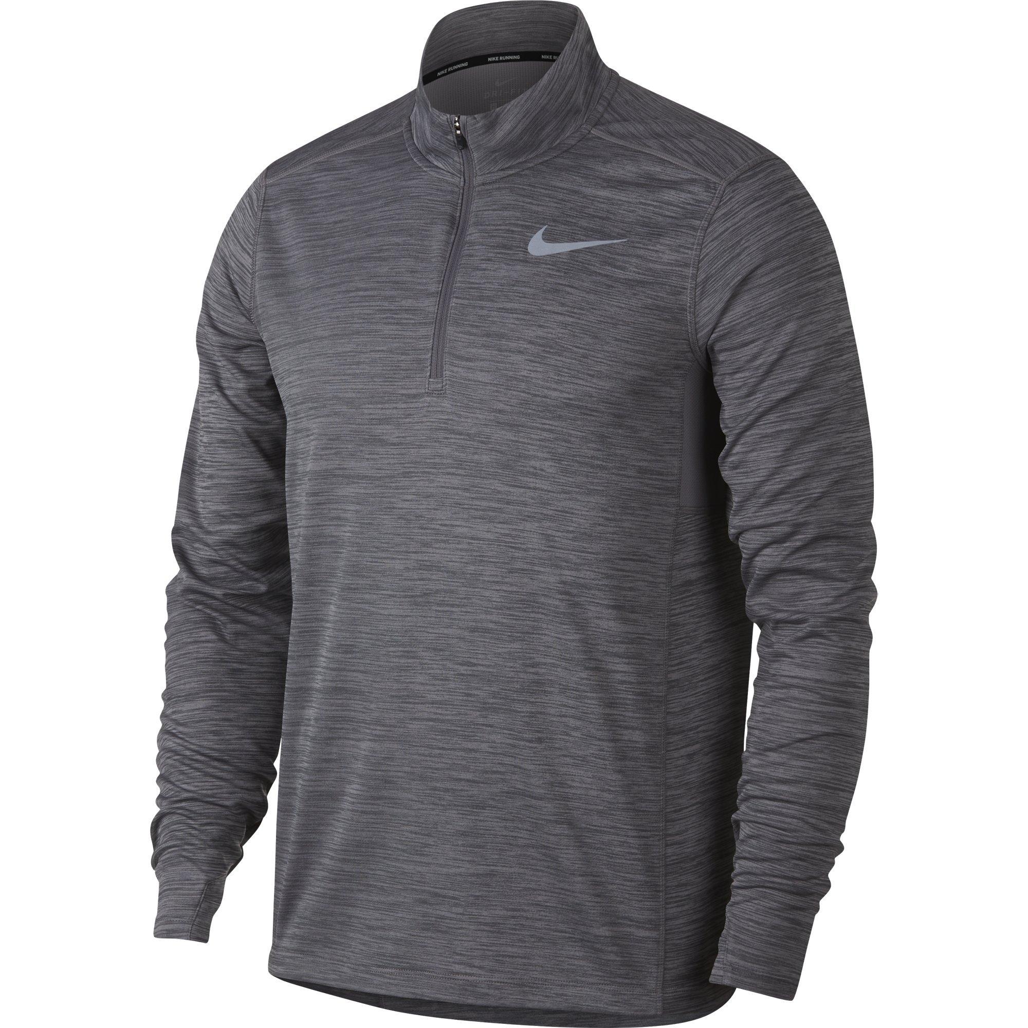 NIKE Men's Pacer Half-Zip Top, Gunsmoke/Heather, Large by Nike