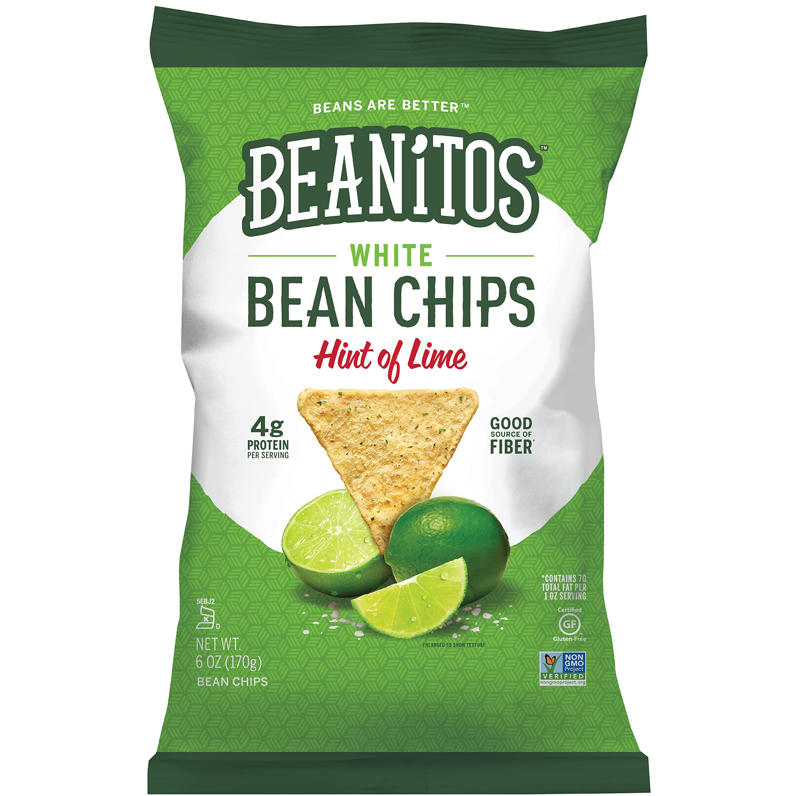 Beanitos Hint of Lime Bean Chips with Sea Salt Plant Based Protein Good Source Fiber Gluten Free Non-GMO Vegan Corn Free Tortilla Chip Snack 6 Ounce (Pack of 6)