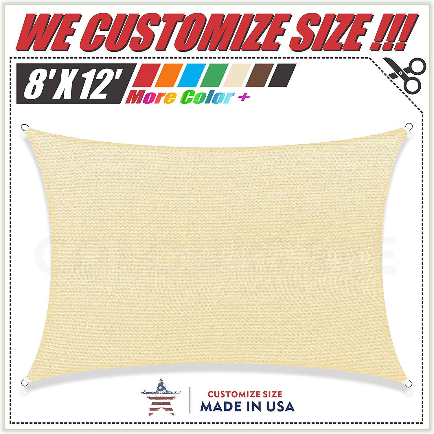 ColourTree 8 x 12 Beige Sun Shade Sail Rectangle Canopy Awning, Heavy Duty Commercial Grade ,We Make Custom Size