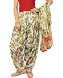 Rama Women's Cotton Floral Print Patiala Dupatta Set (Yellow and Green, Free Size)