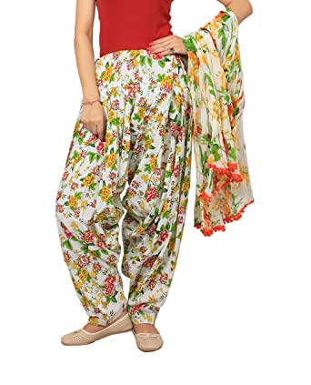 970703d3b2f Image Unavailable. Image not available for. Colour: Rama Women's Cotton  Floral Print Patiala Dupatta Set ...