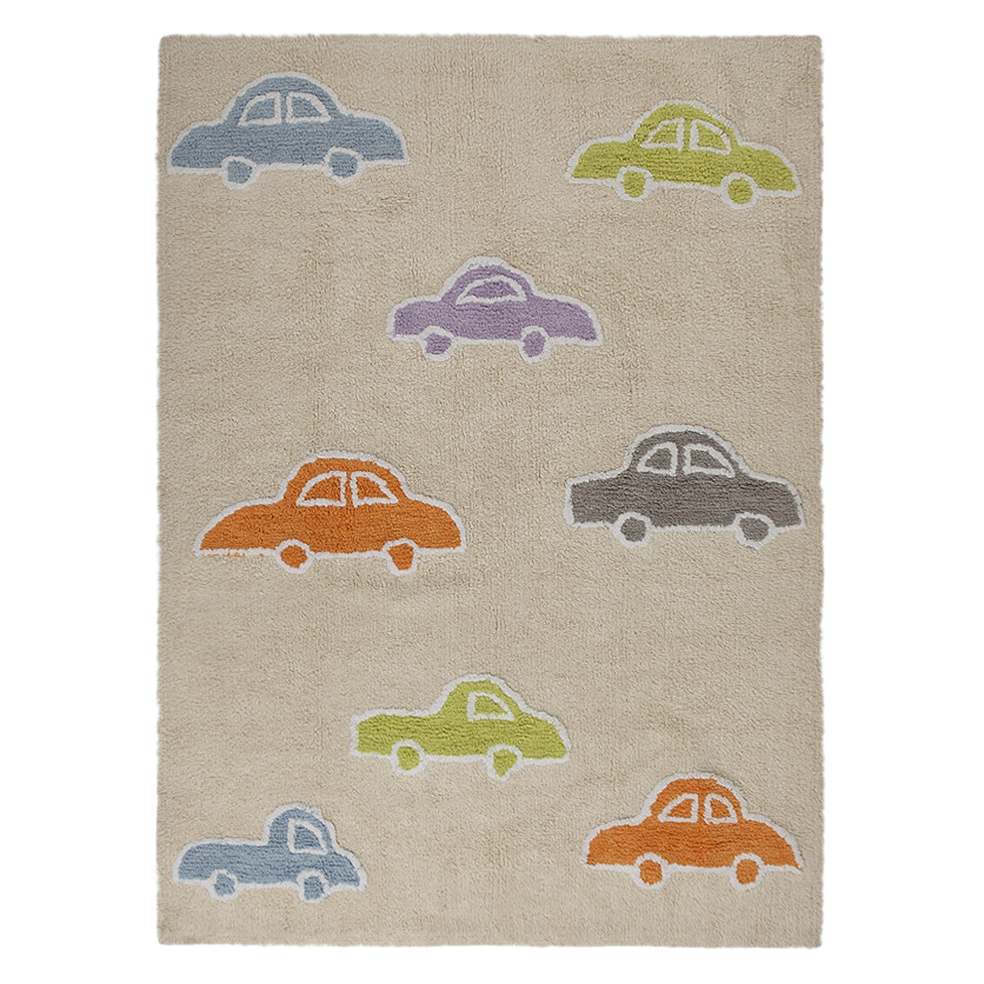 Lorena Canals Cars Machine Washable Kids Rug, 4 x 5 Feet, Handmade From 100% Natural Cotton and Non-Toxic Dyes, Perfect for Nursery, Baby, Playroom, or Childrens Rooms, Works for Outdoor or Beach