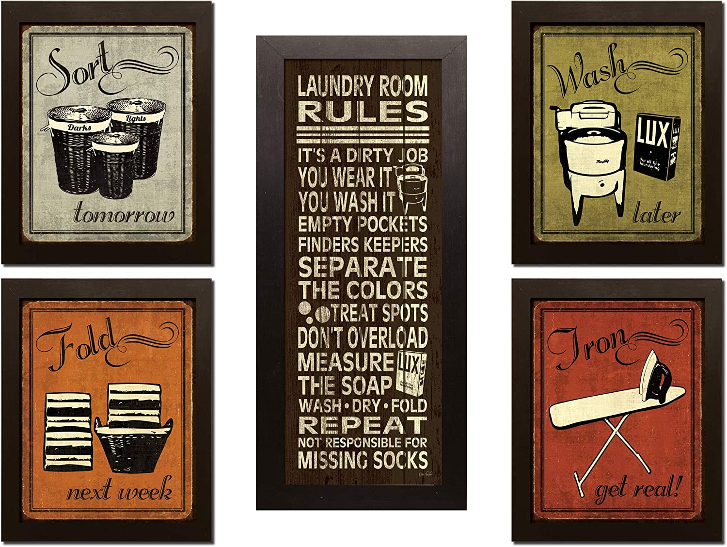 Gango Home Decor Trendy & Extremely Popular Humorous Laundry Room Rules and Laundry Sign; Four 8x10-Inch and One 8x18in Brown Framed Fine Art Prints; Ready to Hang!