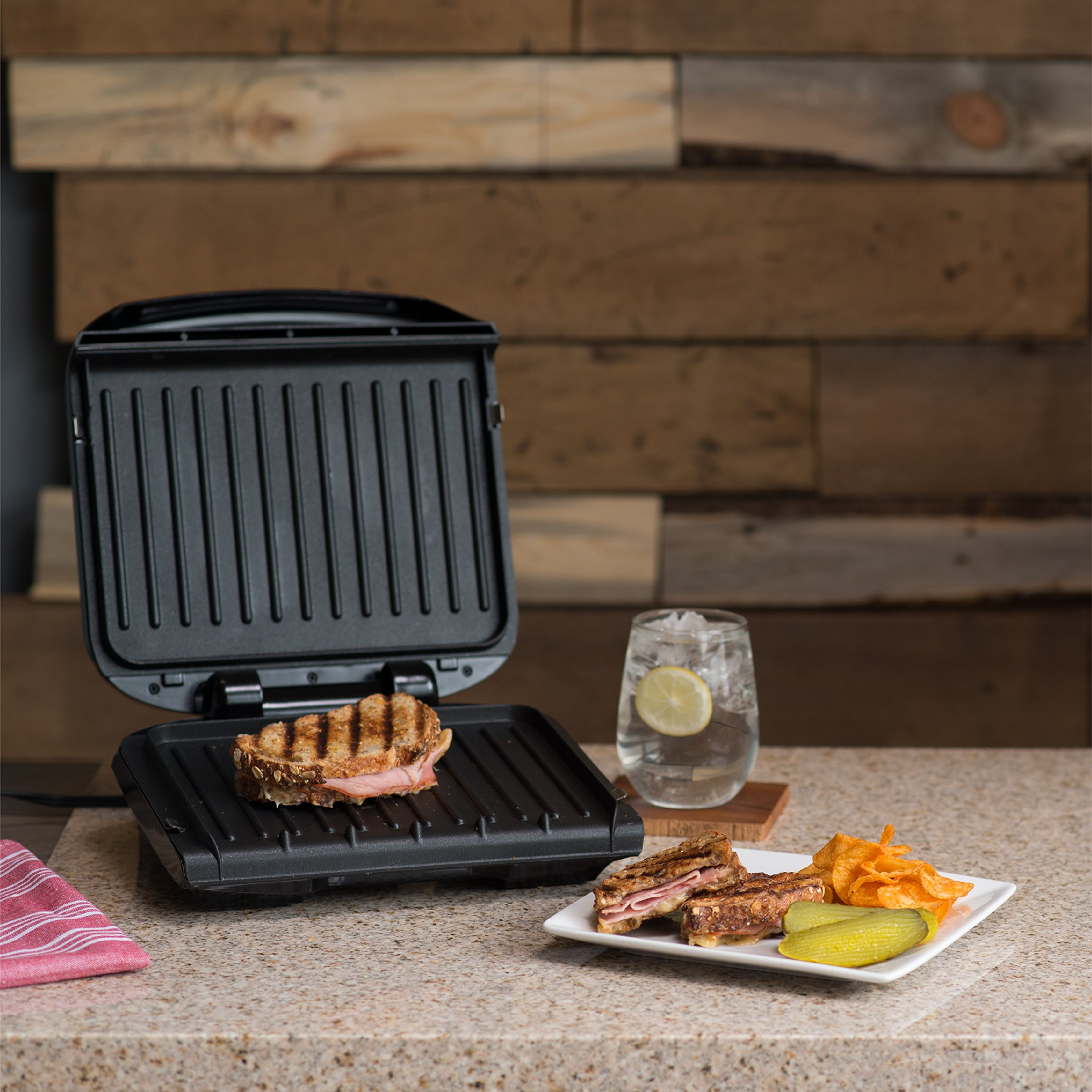 George Foreman 4-Serving Removable Plate Grill and Panini Press, Black, GRP1060B by George Foreman (Image #4)