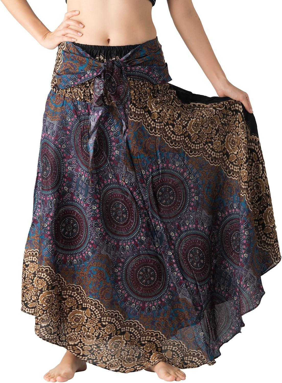 B BANGKOK PANTS Women's Maxi Skirt Boho Hippie Bohemian Clothing Asymmetric
