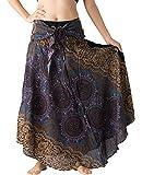 B BANGKOK PANTS Women's Long Boho Maxi Skirt Hippie Clothes Bohemian Asymmetric (Bohorose Grey, One Size)