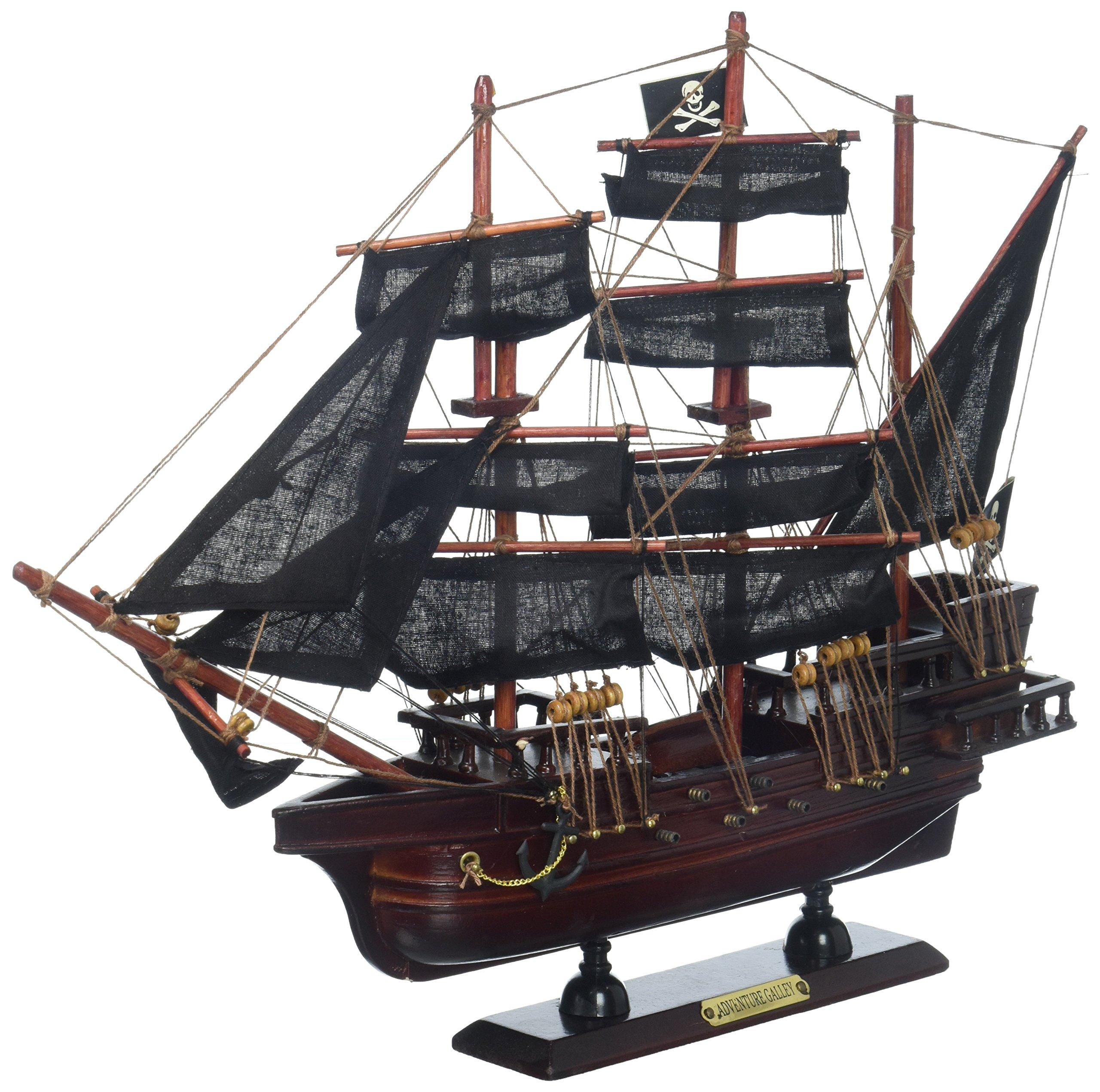Hampton Nautical Wooden Captain Kidd's Adventure Galley Model Pirate Ship, 15''