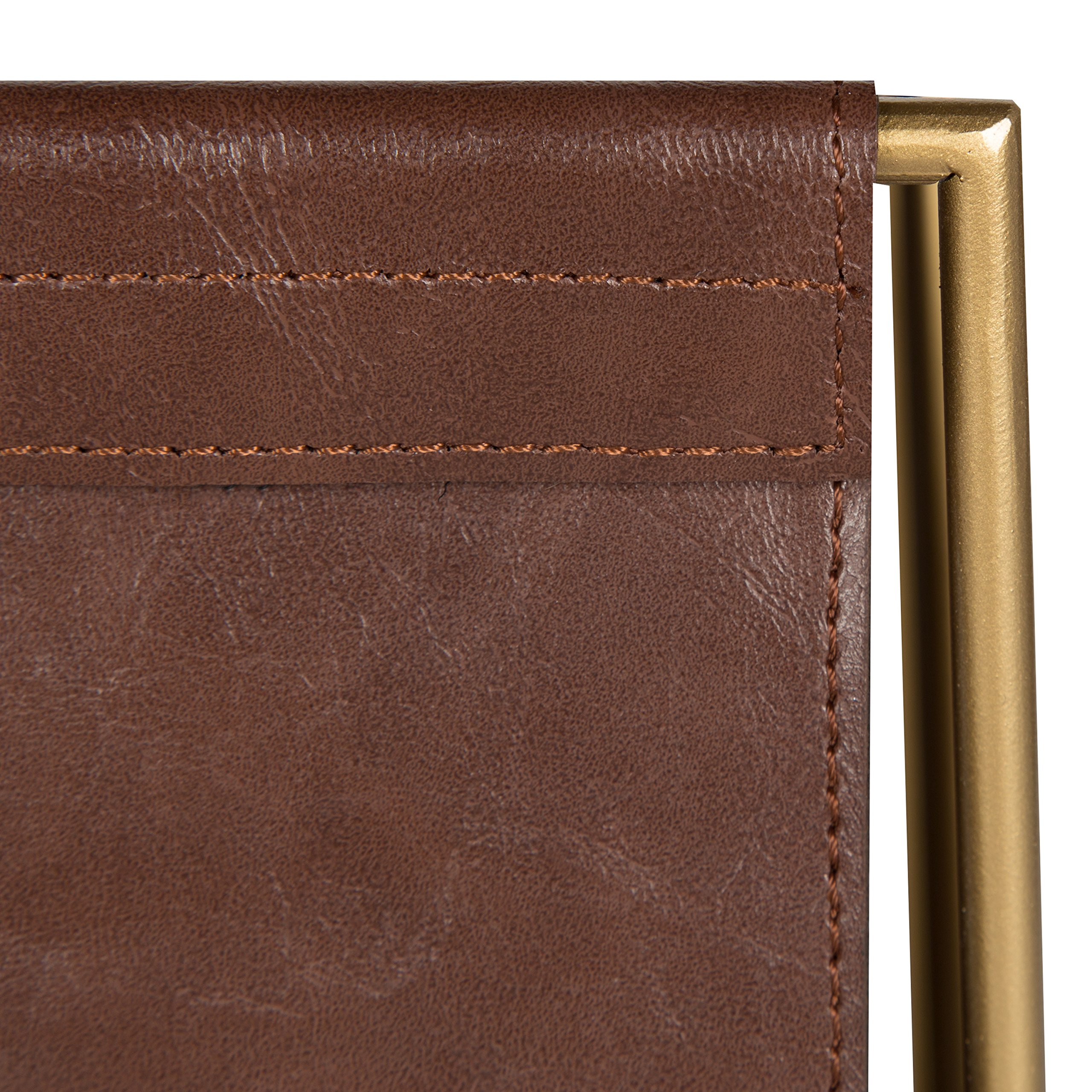 Kate and Laurel Alton Metal and Faux Leather Magazine File Holder, Brown and Gold by Kate and Laurel (Image #3)