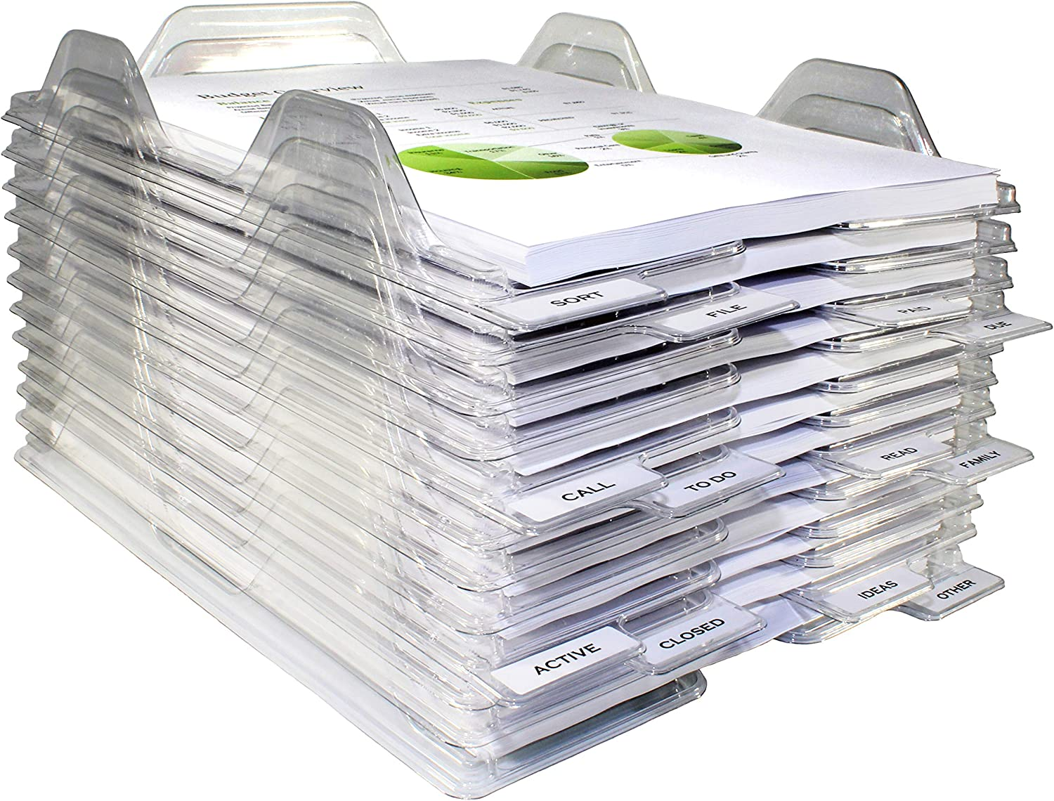 EZSTAX File Organizers - Letter Size, Stackable Trays for Desk - for Office Files, Mail, Documents - 24 Pack