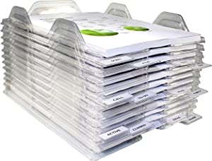 EZSTAX File Organizers - Letter Size, Stackable Trays For Desk - For Office Files, Mail, Documents - 12 Pack