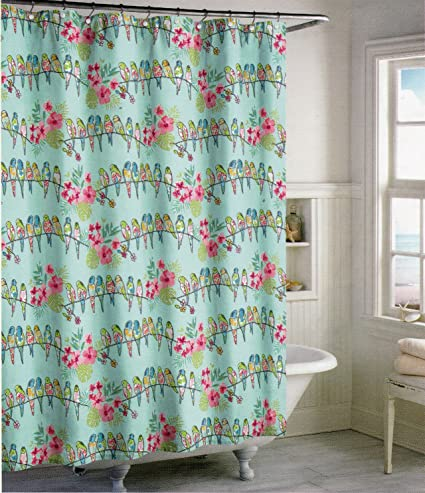 Amazon.com: Signature Coastal Collection Tropical Bird Aqua Fabric ...