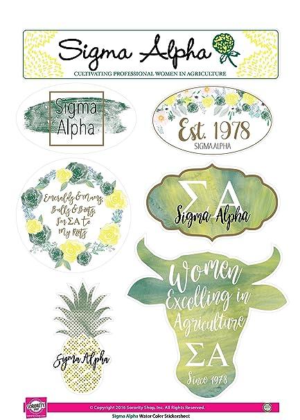 Sigma Alpha Sticker Sheet Watercolor Theme