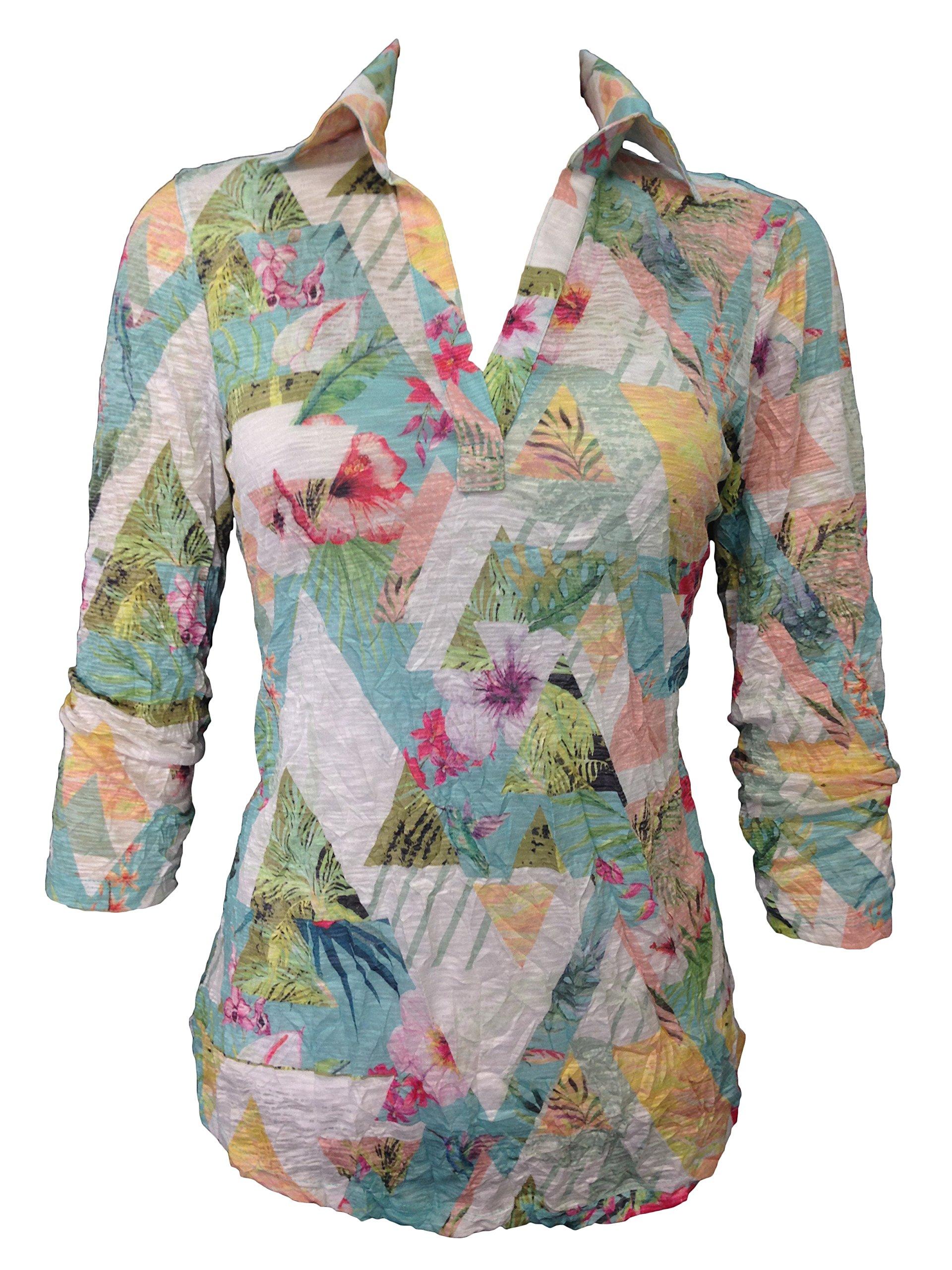 David Cline Woman's Vero Polo Crushed Shirt. Super Soft Fabric.