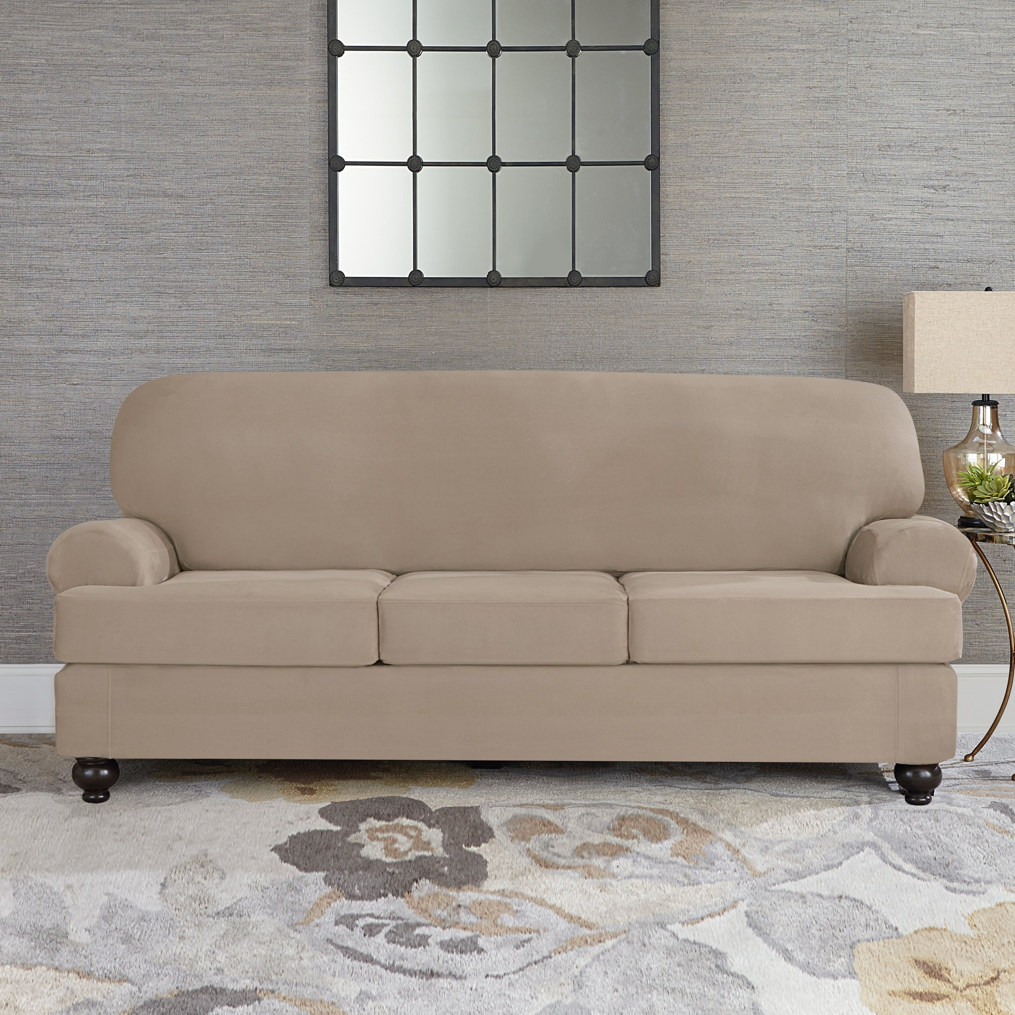 Sure Fit Designer Suede Convertible T-Cushion Sofa 3-Cushion Furniture Cover - Linen (SF44613) by Surefit (Image #2)