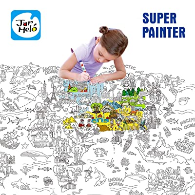 "Jar Melo Super Painter;Giant Coloring Poster; The World; Doodle Art for Children; 45.3"" x 31.5""; Coloring for Kids; Coloring for Adult; Theme Scene; Enjoy Drawing Fun: Toys & Games"