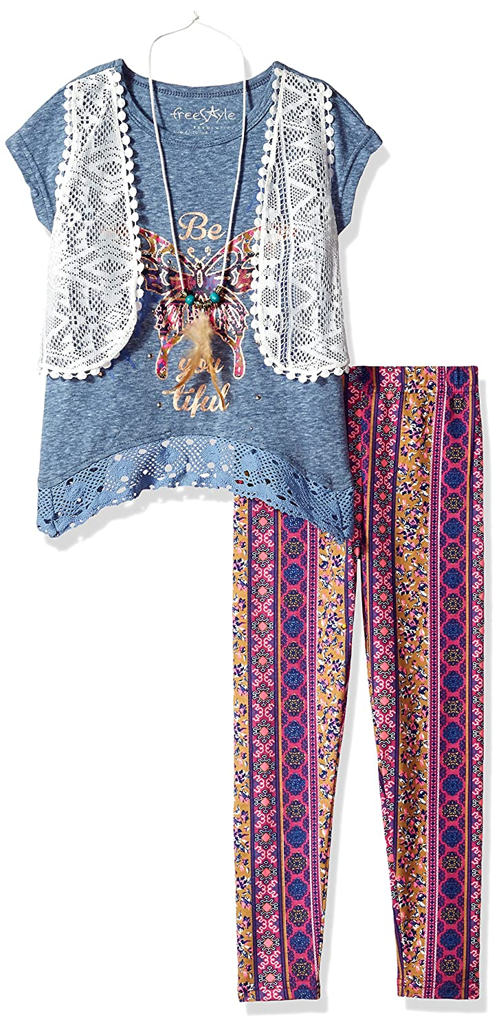 Freestyle Revolution Girls Little 3pc Mock Vest//Legging//Necklace