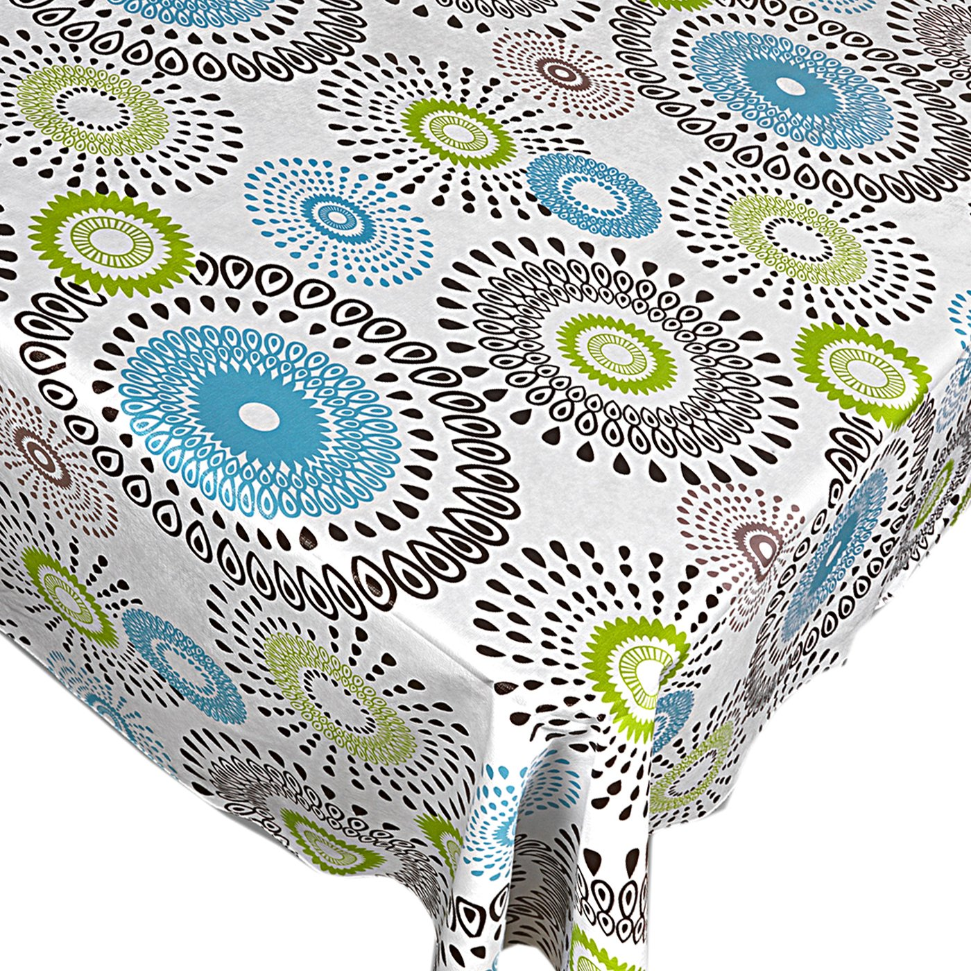 Whimsy Circle Contemporary Print Indoor/Outdoor Vinyl Flannel Backed Tablecloth - 52 x 90 Oblong