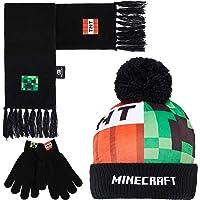 Minecraft Guantes, Gorro y Bufanda Niño, Conjunto Invierno para Niños, Guantes Invierno y Sombrero, Accesorios…