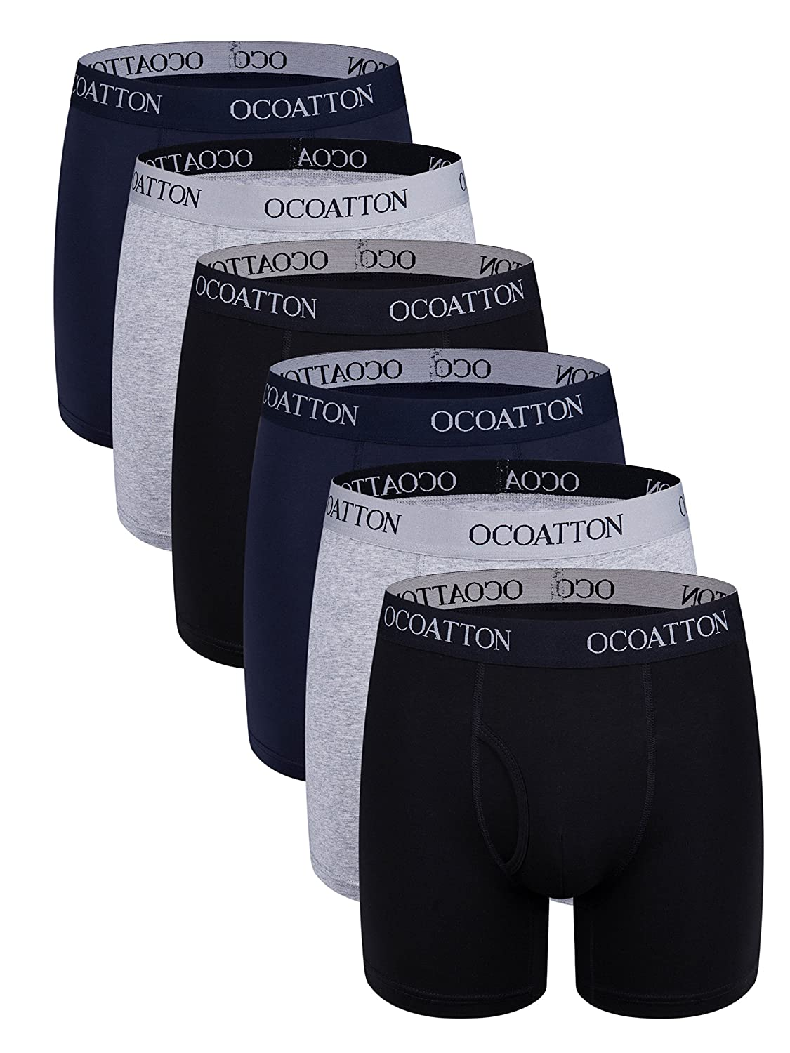 OCOATTON Men's Underwear Combed Cotton Boxer Briefs with Front Fly 6-Pack