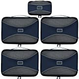 PRO Packing Cubes   5 Piece Set  Lightweight & Durable Travel Cube  Get 30% Compression   Ideal for Saving Space & Beating Luggage Restrictions (Marine Blue)