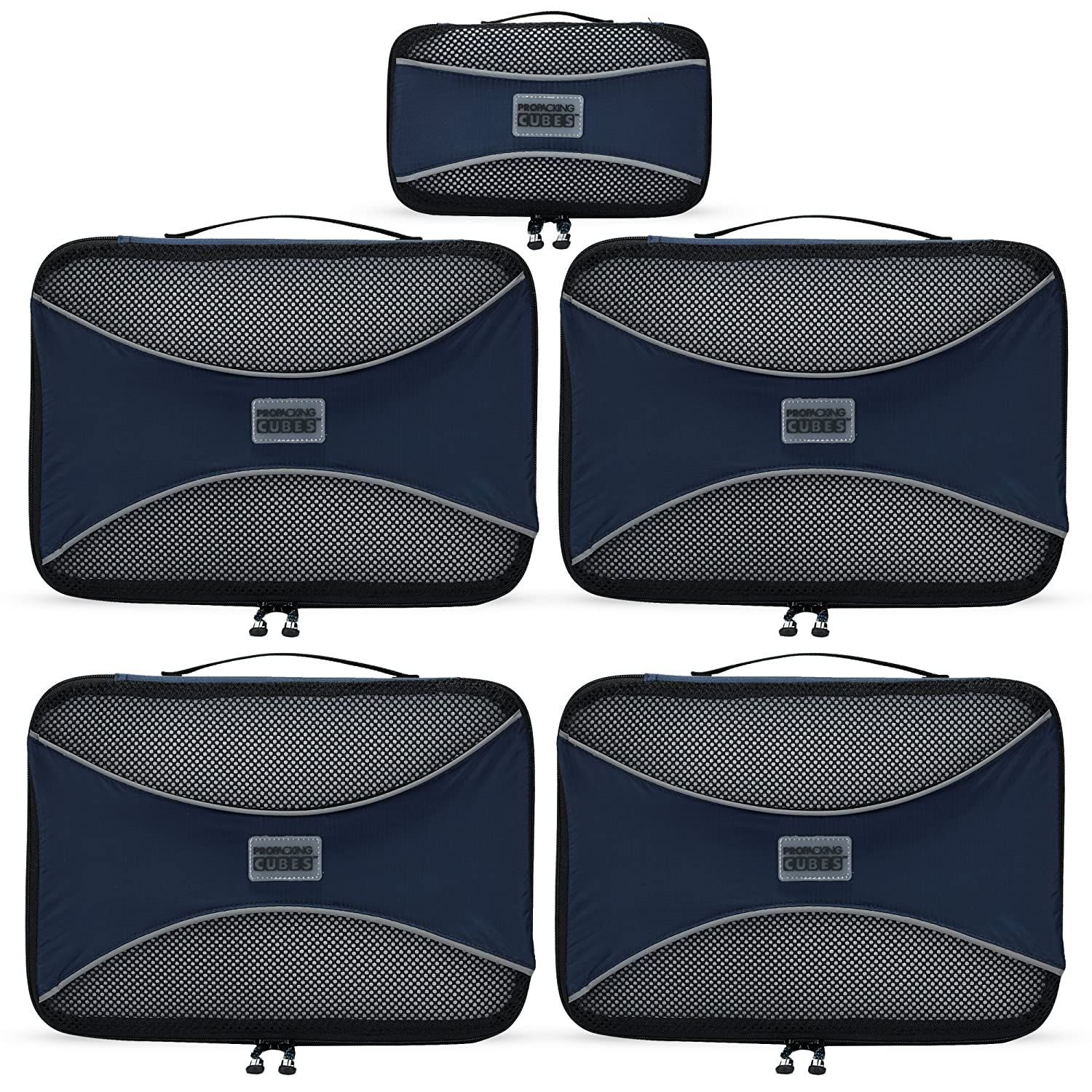 PRO Packing Cubes | 5 Piece | Organizers & Space Saver | Travel Cube Value Set PPC5Aqua