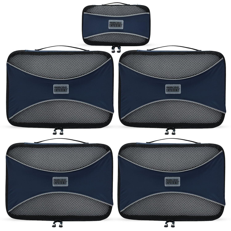 PRO Packing Cubes | Set Convenienza 5 Pezzi Packing Cube da viaggio | Risparmio dello spazio in valigia del 30% | Organizer ultra leggeri per bagagli | Ottimi per borsoni, bagagli a mano e zaini PPC5Aqua