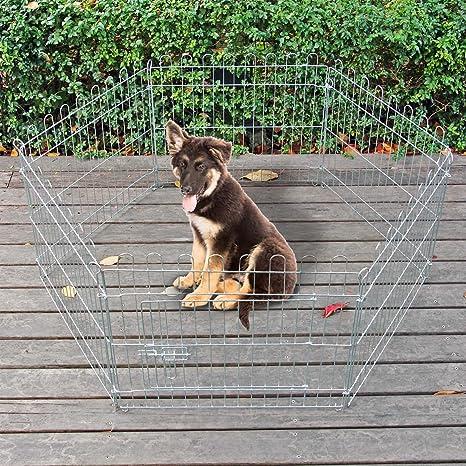 WilTec Jaula Valla Parque para Mascotas Cachorros Juego 6 Piezas ...
