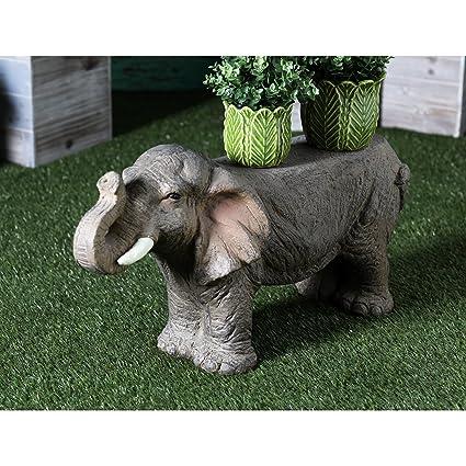 GT Eclectic Textured Elephant Garden Statue, Outdoor Bench 17 X 31 Inch