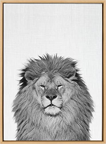 Kate and Laurel Sylvie Lion Animal Print Black and White Portrait Framed Canvas Wall Art
